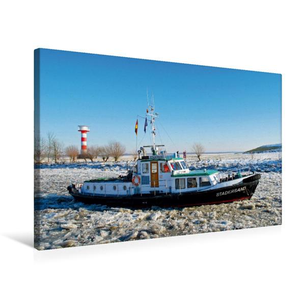 Premium Textil-Leinwand 75 cm x 50 cm quer, Eisbrecher auf der Elbe | Wandbild, Bild auf Keilrahmen, Fertigbild auf echter Leinwand, Leinwanddruck - Coverbild