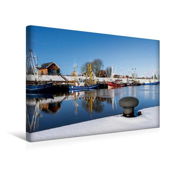 Premium Textil-Leinwand 45 cm x 30 cm quer, Fischerhafen von Greetsiel | Wandbild, Bild auf Keilrahmen, Fertigbild auf echter Leinwand, Leinwanddruck - Coverbild