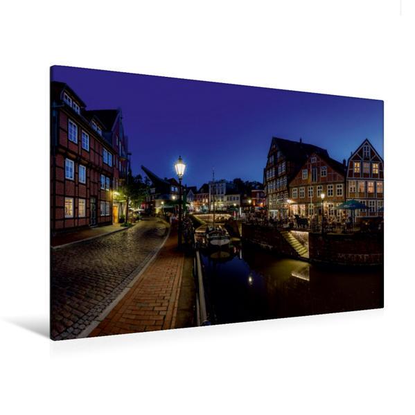 Premium Textil-Leinwand 120 cm x 80 cm quer, Altstadt am Abend   Wandbild, Bild auf Keilrahmen, Fertigbild auf echter Leinwand, Leinwanddruck - Coverbild