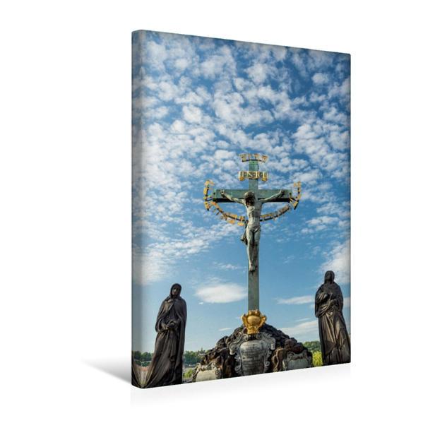 Premium Textil-Leinwand 30 cm x 45 cm hoch, Statuen auf der Karlsbrücke | Wandbild, Bild auf Keilrahmen, Fertigbild auf echter Leinwand, Leinwanddruck - Coverbild