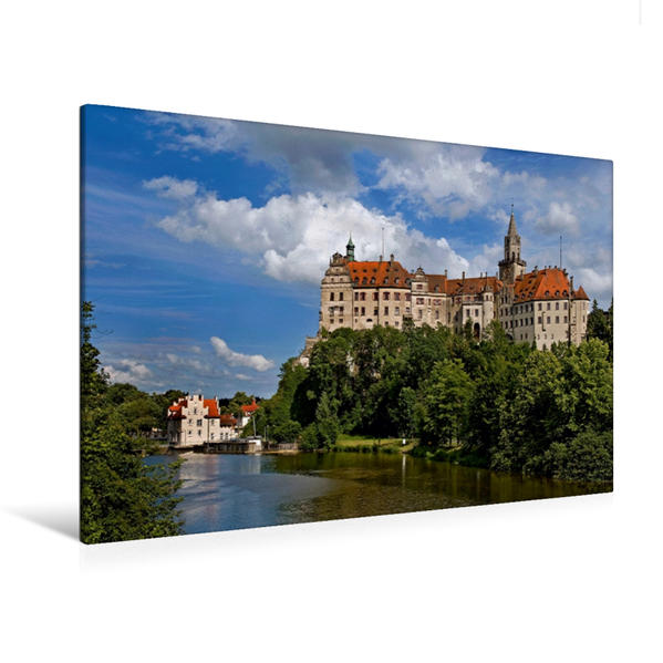 Premium Textil-Leinwand 120 cm x 80 cm quer, Schloss Sigmaringen | Wandbild, Bild auf Keilrahmen, Fertigbild auf echter Leinwand, Leinwanddruck - Coverbild