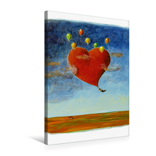 Premium Textil-Leinwand 50 cm x 75 cm hoch, Fliegendes Herz | Wandbild, Bild auf Keilrahmen, Fertigbild auf echter Leinwand, Leinwanddruck - Coverbild