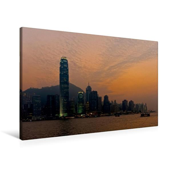 Premium Textil-Leinwand 90 cm x 60 cm quer, Skyline Hongkong Island | Wandbild, Bild auf Keilrahmen, Fertigbild auf echter Leinwand, Leinwanddruck - Coverbild