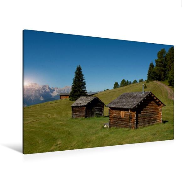 Premium Textil-Leinwand 120 cm x 80 cm quer, Almhütten in Wengen | Wandbild, Bild auf Keilrahmen, Fertigbild auf echter Leinwand, Leinwanddruck - Coverbild