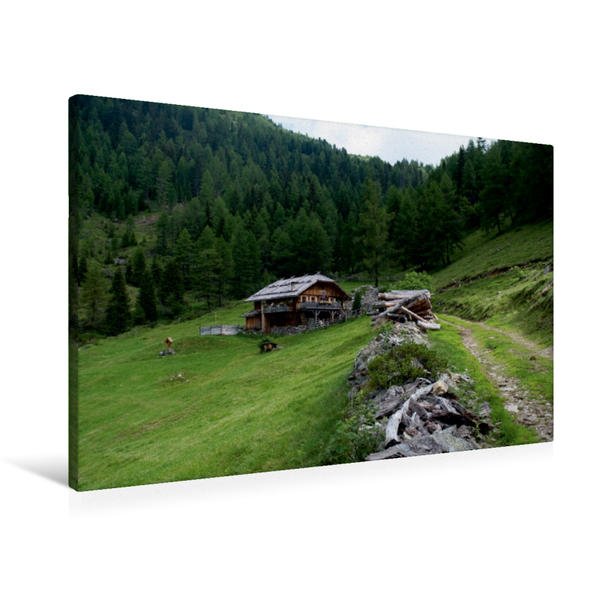 Premium Textil-Leinwand 90 cm x 60 cm quer, Almhütte bei Pfalzen | Wandbild, Bild auf Keilrahmen, Fertigbild auf echter Leinwand, Leinwanddruck - Coverbild