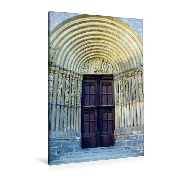 Premium Textil-Leinwand 80 cm x 120 cm  hoch, Bamberger Dom Fürstenportal | Wandbild, Bild auf Keilrahmen, Fertigbild auf echter Leinwand, Leinwanddruck - Coverbild