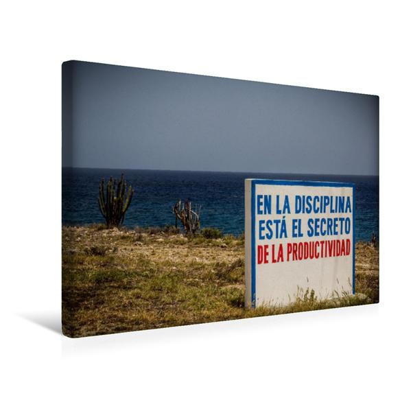 Premium Textil-Leinwand 45 cm x 30 cm quer, Kuba Nostalgie: Kommunistische Propaganda an der Küstenstraße | Wandbild, Bild auf Keilrahmen, Fertigbild auf echter Leinwand, Leinwanddruck - Coverbild