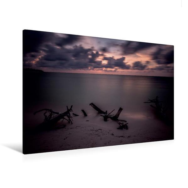 Premium Textil-Leinwand 120 cm x 80 cm quer, Kuba Nostalgie: Sonnenuntergang mit vorbeiziehenden Wolken am Strand von Cayo Levisa | Wandbild, Bild auf Keilrahmen, Fertigbild auf echter Leinwand, Leinwanddruck - Coverbild