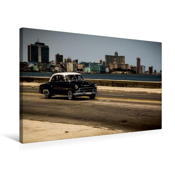 Premium Textil-Leinwand 75 cm x 50 cm quer, Kuba Nostalgie: Oldtimer am Malecon, Havanna | Wandbild, Bild auf Keilrahmen, Fertigbild auf echter Leinwand, Leinwanddruck - Coverbild