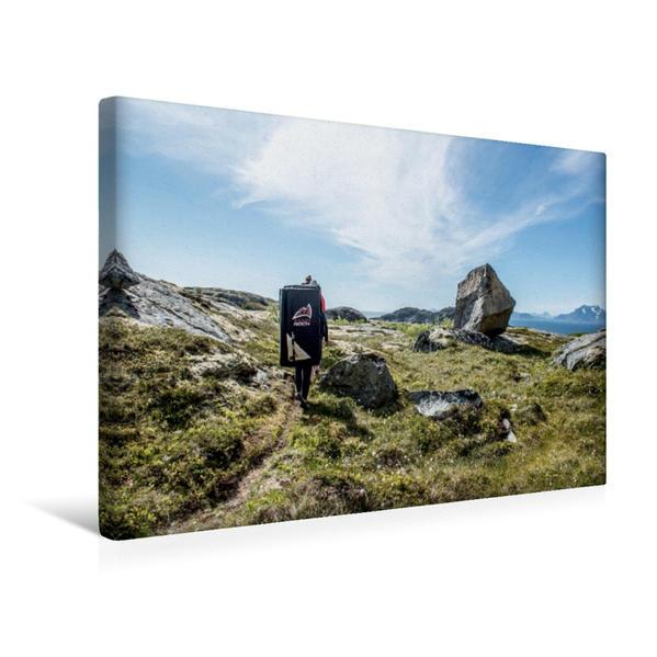 Premium Textil-Leinwand 45 cm x 30 cm quer, bouldern in Henningsvaer, Lofoten, | Wandbild, Bild auf Keilrahmen, Fertigbild auf echter Leinwand, Leinwanddruck - Coverbild