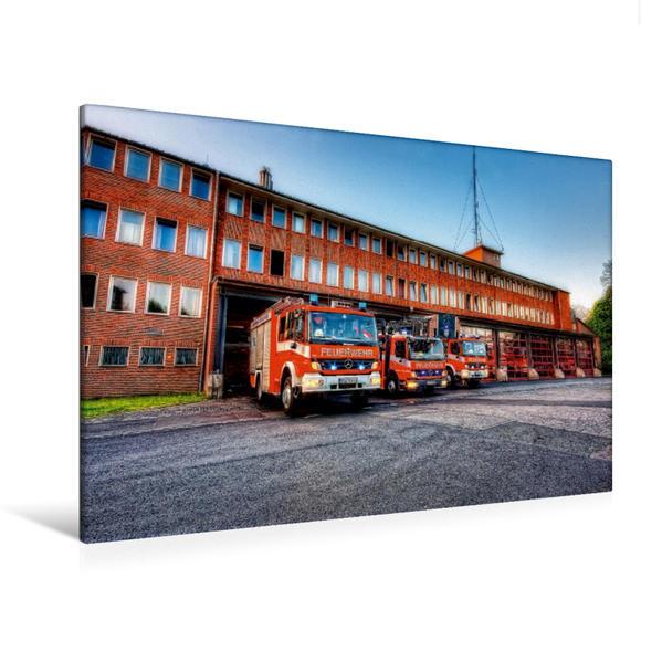 Premium Textil-Leinwand 120 cm x 80 cm quer, Löschzug BF Braunschweig | Wandbild, Bild auf Keilrahmen, Fertigbild auf echter Leinwand, Leinwanddruck - Coverbild