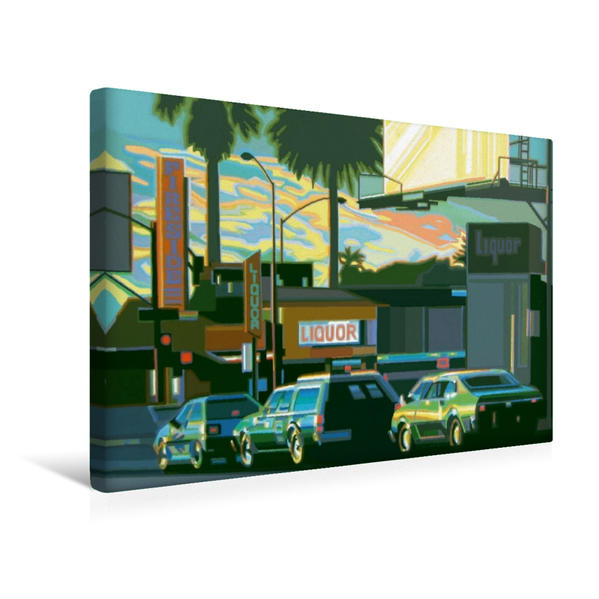 Premium Textil-Leinwand 45 cm x 30 cm quer, Abendstimmung mit Palmen | Wandbild, Bild auf Keilrahmen, Fertigbild auf echter Leinwand, Leinwanddruck - Coverbild