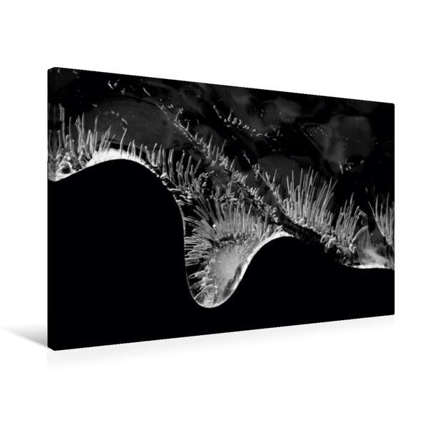 Premium Textil-Leinwand 75 cm x 50 cm quer, Makroaufnahme eines Eiszapfens | Wandbild, Bild auf Keilrahmen, Fertigbild auf echter Leinwand, Leinwanddruck - Coverbild