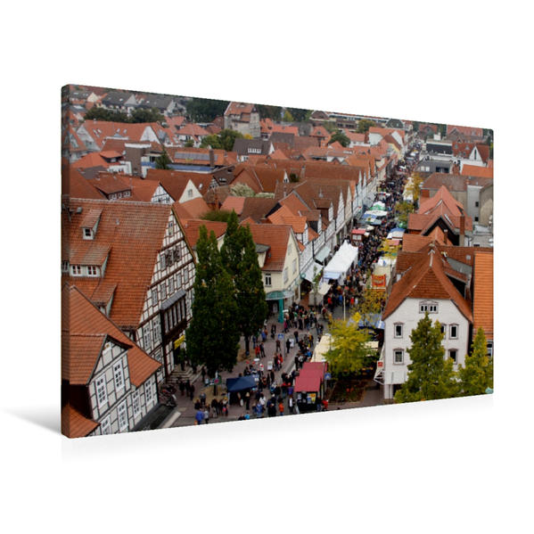 Premium Textil-Leinwand 90 cm x 60 cm quer, Oktobermarkt in Burgdorf | Wandbild, Bild auf Keilrahmen, Fertigbild auf echter Leinwand, Leinwanddruck - Coverbild