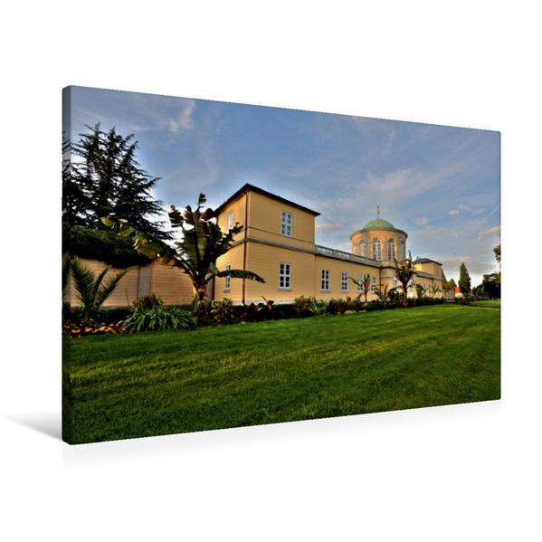 Premium Textil-Leinwand 90 cm x 60 cm quer, Eingang Berggarten | Wandbild, Bild auf Keilrahmen, Fertigbild auf echter Leinwand, Leinwanddruck - Coverbild