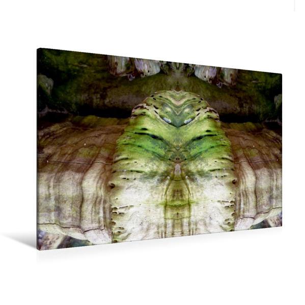 Premium Textil-Leinwand 120 cm x 80 cm quer, Lachender Buddha | Wandbild, Bild auf Keilrahmen, Fertigbild auf echter Leinwand, Leinwanddruck - Coverbild