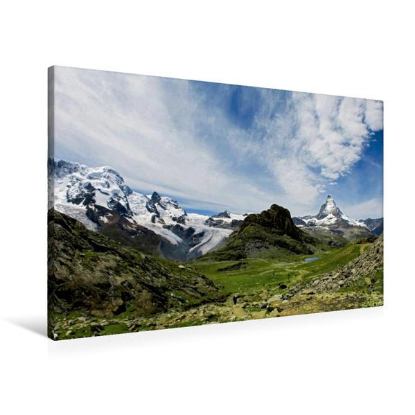 Premium Textil-Leinwand 90 cm x 60 cm quer, Riffelberg, 2582 m, mit Riffelsee   Wandbild, Bild auf Keilrahmen, Fertigbild auf echter Leinwand, Leinwanddruck - Coverbild