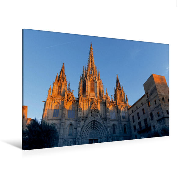 Premium Textil-Leinwand 120 cm x 80 cm quer, La Catedral de la Santa Creu | Wandbild, Bild auf Keilrahmen, Fertigbild auf echter Leinwand, Leinwanddruck - Coverbild