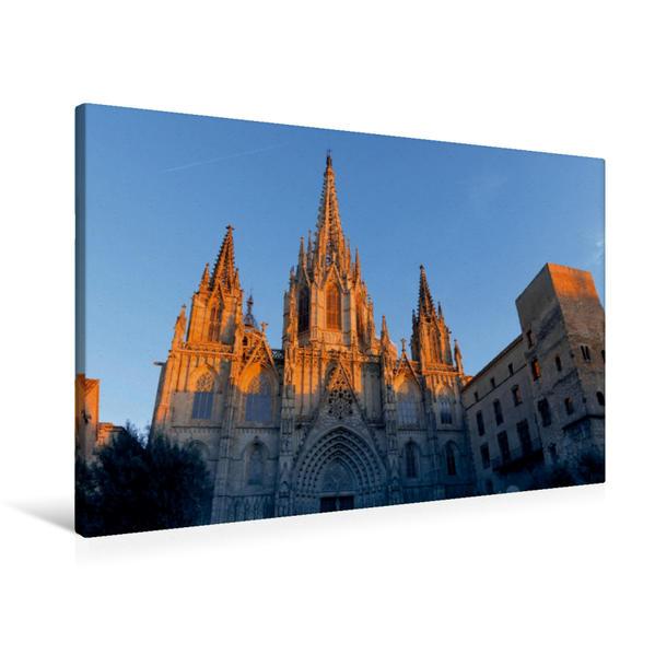 Premium Textil-Leinwand 90 cm x 60 cm quer, La Catedral de la Santa Creu | Wandbild, Bild auf Keilrahmen, Fertigbild auf echter Leinwand, Leinwanddruck - Coverbild