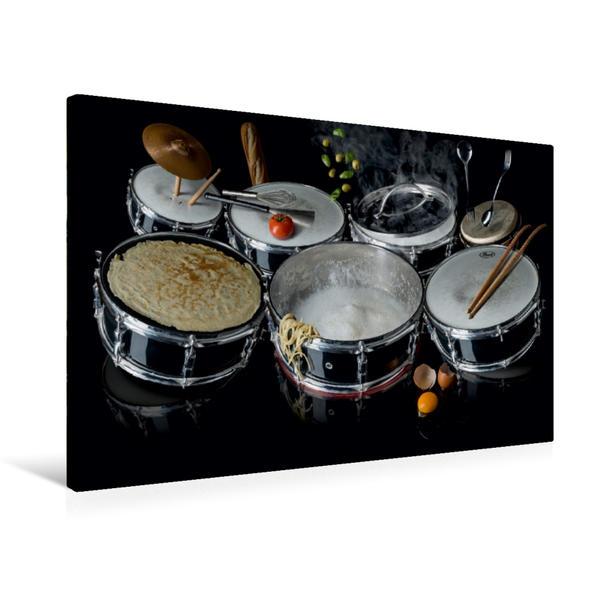 Premium Textil-Leinwand 75 cm x 50 cm quer, Drummers Abendessen | Wandbild, Bild auf Keilrahmen, Fertigbild auf echter Leinwand, Leinwanddruck - Coverbild