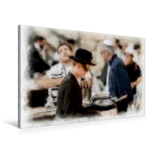 Premium Textil-Leinwand 90 cm x 60 cm quer, Gebet an der Klagemauer | Wandbild, Bild auf Keilrahmen, Fertigbild auf echter Leinwand, Leinwanddruck - Coverbild