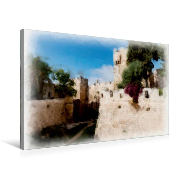 Premium Textil-Leinwand 75 cm x 50 cm quer, Zitadelle am Jaffa-Tor | Wandbild, Bild auf Keilrahmen, Fertigbild auf echter Leinwand, Leinwanddruck - Coverbild