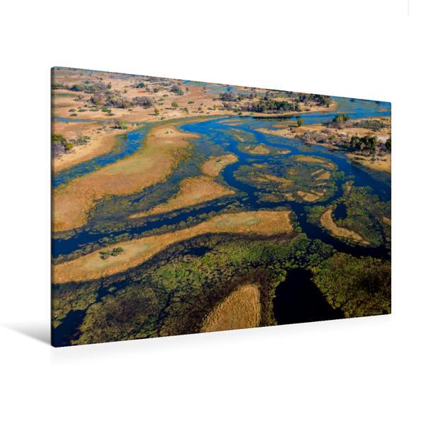 Premium Textil-Leinwand 120 cm x 80 cm quer, Im Okavango-Delta bei Bukwi Island | Wandbild, Bild auf Keilrahmen, Fertigbild auf echter Leinwand, Leinwanddruck - Coverbild