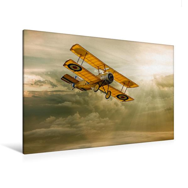 Premium Textil-Leinwand 120 cm x 80 cm quer, Modellflugzeug in Aktion | Wandbild, Bild auf Keilrahmen, Fertigbild auf echter Leinwand, Leinwanddruck - Coverbild