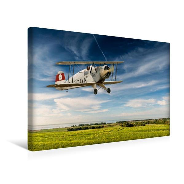 Premium Textil-Leinwand 45 cm x 30 cm quer, Modellflugzeug in Aktion | Wandbild, Bild auf Keilrahmen, Fertigbild auf echter Leinwand, Leinwanddruck - Coverbild