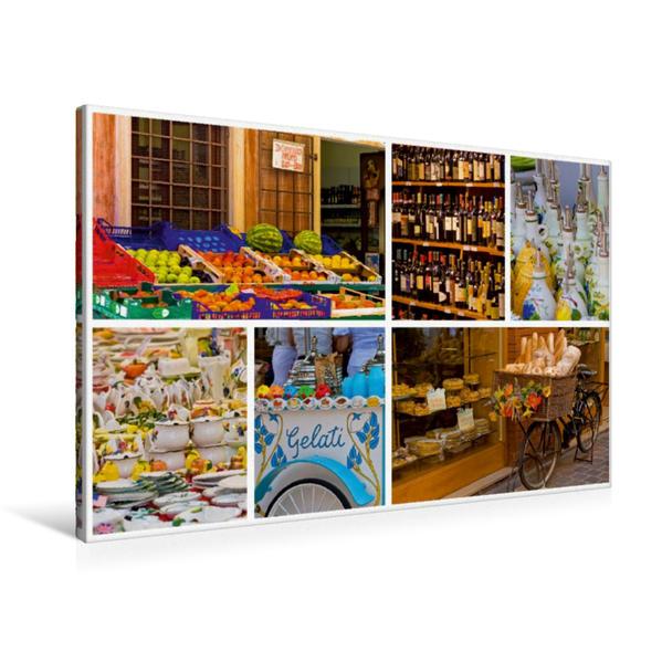Premium Textil-Leinwand 90 cm x 60 cm quer, Sehnsucht Gardasee - Wochenmärkte und idyllische Geschäfte   Wandbild, Bild auf Keilrahmen, Fertigbild auf echter Leinwand, Leinwanddruck - Coverbild