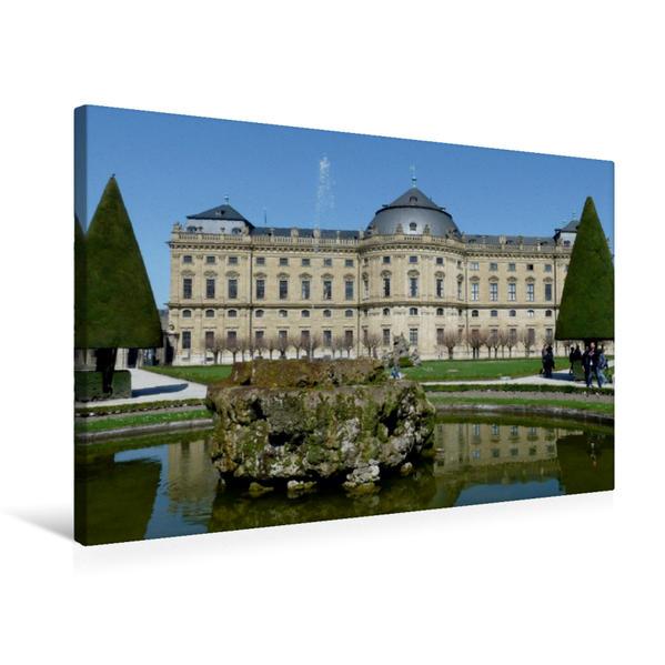 Premium Textil-Leinwand 75 cm x 50 cm quer, Würzburger Residenzschloss | Wandbild, Bild auf Keilrahmen, Fertigbild auf echter Leinwand, Leinwanddruck - Coverbild