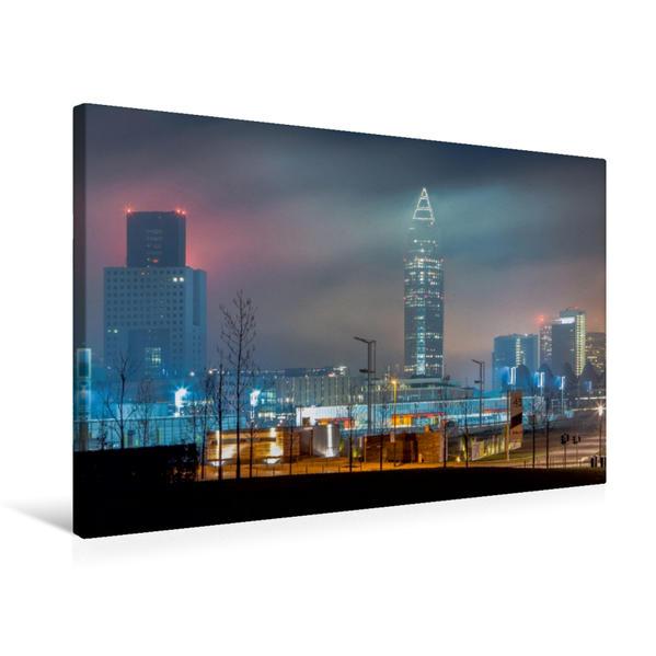 Premium Textil-Leinwand 75 cm x 50 cm quer, Messegelände im Nebel | Wandbild, Bild auf Keilrahmen, Fertigbild auf echter Leinwand, Leinwanddruck - Coverbild