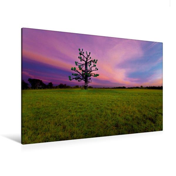 Premium Textil-Leinwand 120 cm x 80 cm quer, Eisenbaum zum Sonnenuntergang   Wandbild, Bild auf Keilrahmen, Fertigbild auf echter Leinwand, Leinwanddruck - Coverbild