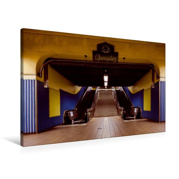 Premium Textil-Leinwand 90 cm x 60 cm quer, U-Bahn Station Alte Oper | Wandbild, Bild auf Keilrahmen, Fertigbild auf echter Leinwand, Leinwanddruck - Coverbild