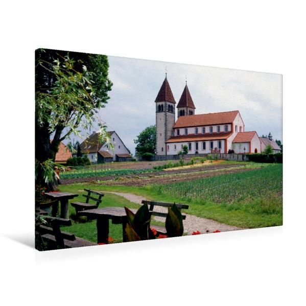 Premium Textil-Leinwand 90 cm x 60 cm quer, Klosterinsel Reichenau, die drei Kirchen aus dem 9.-11. Jh.   Wandbild, Bild auf Keilrahmen, Fertigbild auf echter Leinwand, Leinwanddruck - Coverbild