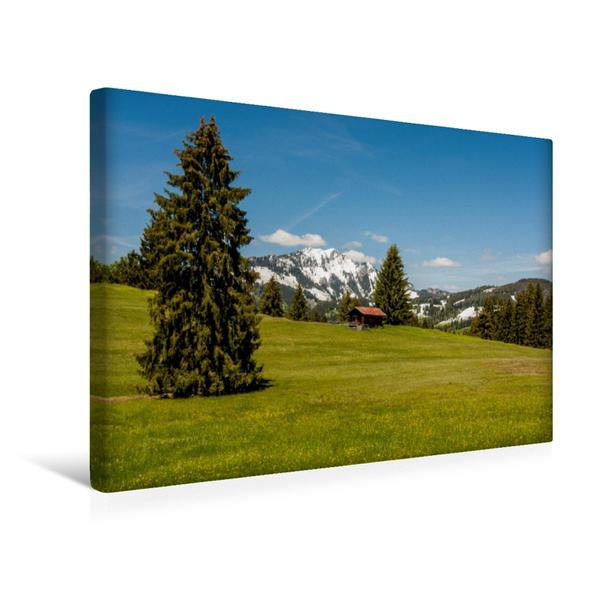 Premium Textil-Leinwand 45 cm x 30 cm quer, Blick auf den Grünten | Wandbild, Bild auf Keilrahmen, Fertigbild auf echter Leinwand, Leinwanddruck - Coverbild