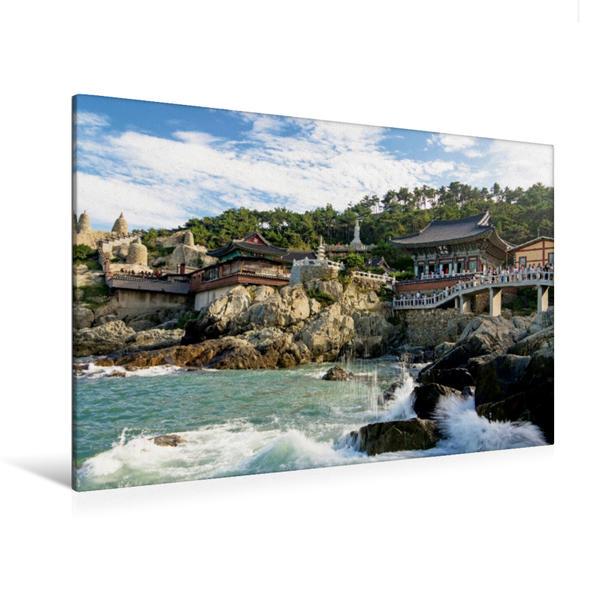 Premium Textil-Leinwand 120 cm x 80 cm quer, Der Tempel Yonggungsa, einer der wenigen Tempel, die direkt an der Küstenlinie erbaut wurde | Wandbild, Bild auf Keilrahmen, Fertigbild auf echter Leinwand, Leinwanddruck - Coverbild