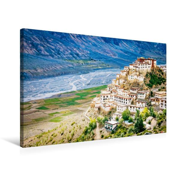 Premium Textil-Leinwand 75 cm x 50 cm quer, Das hoch,gelegene tibetisch-buddhistisches Kloster Ki Gompa am Spiti-Fluss | Wandbild, Bild auf Keilrahmen, Fertigbild auf echter Leinwand, Leinwanddruck - Coverbild