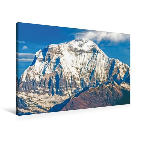 Premium Textil-Leinwand 90 cm x 60 cm quer, Morgendämmerung über dem schneebedeckten Gipfel des Dhaulagiri I   Wandbild, Bild auf Keilrahmen, Fertigbild auf echter Leinwand, Leinwanddruck - Coverbild
