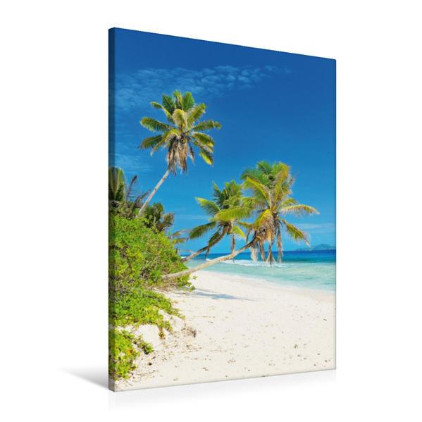 Premium Textil-Leinwand 60 cm x 90 cm hoch, Tropischer Sandstrand mit Kokospalmen und türkisfarbenem Ozean | Wandbild, Bild auf Keilrahmen, Fertigbild auf echter Leinwand, Leinwanddruck - Coverbild