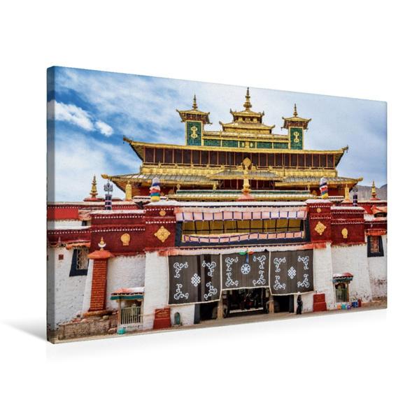 Premium Textil-Leinwand 75 cm x 50 cm quer, Das Samye Kloster gilt als eines der ältesten tibetischen Kloster | Wandbild, Bild auf Keilrahmen, Fertigbild auf echter Leinwand, Leinwanddruck - Coverbild