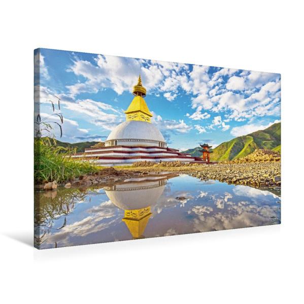 Premium Textil-Leinwand 75 cm x 50 cm quer, Mystische Stupa im Bezirk Golog spiegelt sich in einem See | Wandbild, Bild auf Keilrahmen, Fertigbild auf echter Leinwand, Leinwanddruck - Coverbild