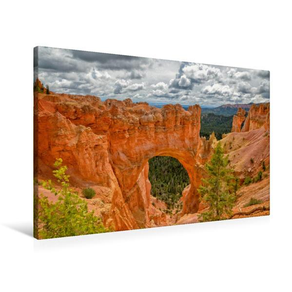 Premium Textil-Leinwand 90 cm x 60 cm quer, Bryce Natural Bridge, Utah   Wandbild, Bild auf Keilrahmen, Fertigbild auf echter Leinwand, Leinwanddruck - Coverbild