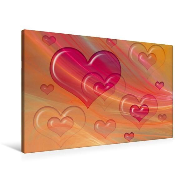 Premium Textil-Leinwand 90 cm x 60 cm quer, Herzige Blasen   Wandbild, Bild auf Keilrahmen, Fertigbild auf echter Leinwand, Leinwanddruck - Coverbild