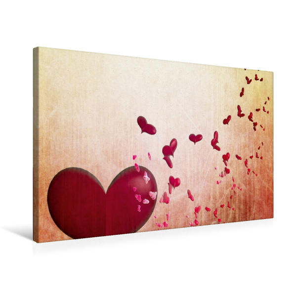 Premium Textil-Leinwand 75 cm x 50 cm quer, Fliegende rote Herzen | Wandbild, Bild auf Keilrahmen, Fertigbild auf echter Leinwand, Leinwanddruck - Coverbild