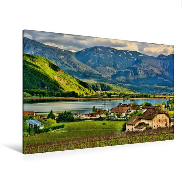 Premium Textil-Leinwand 120 cm x 80 cm quer, Blick auf den Kalterer See und die Dolomiten   Wandbild, Bild auf Keilrahmen, Fertigbild auf echter Leinwand, Leinwanddruck - Coverbild
