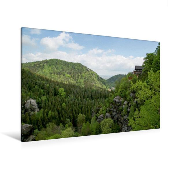 Premium Textil-Leinwand 120 cm x 80 cm quer, Auf dem Oybin | Wandbild, Bild auf Keilrahmen, Fertigbild auf echter Leinwand, Leinwanddruck - Coverbild