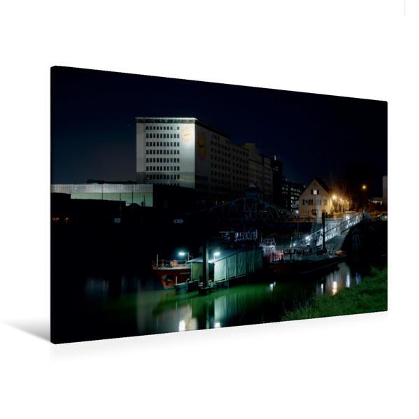 Premium Textil-Leinwand 120 cm x 80 cm quer, Deutzer Hafen | Wandbild, Bild auf Keilrahmen, Fertigbild auf echter Leinwand, Leinwanddruck - Coverbild