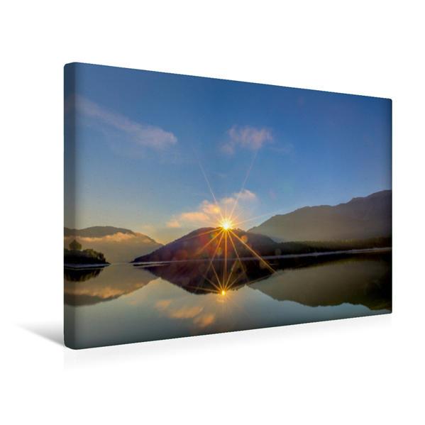 Premium Textil-Leinwand 45 cm x 30 cm quer, Sonnenaufgang am Sylvenstein | Wandbild, Bild auf Keilrahmen, Fertigbild auf echter Leinwand, Leinwanddruck - Coverbild