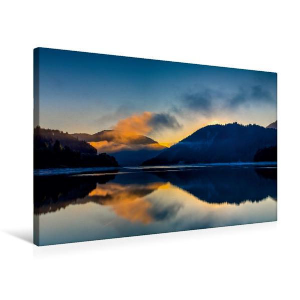 Premium Textil-Leinwand 75 cm x 50 cm quer, Orangener Nebel | Wandbild, Bild auf Keilrahmen, Fertigbild auf echter Leinwand, Leinwanddruck - Coverbild